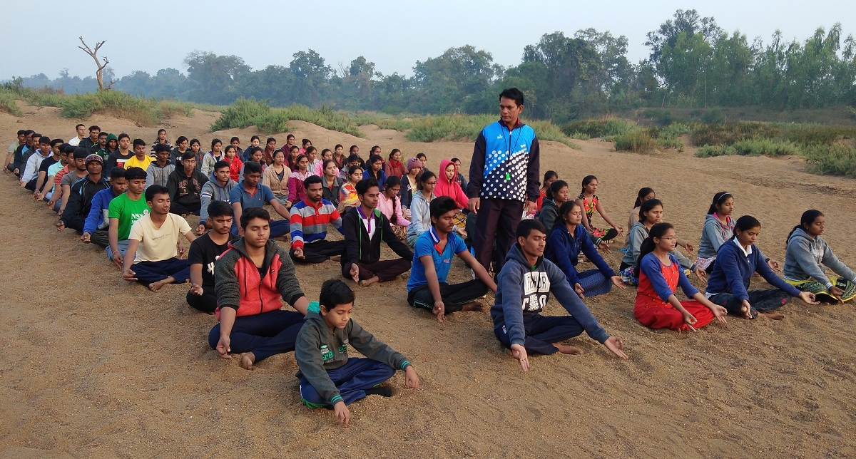 Morning Yoga session in NSS Camp at Kasavi (2018-19).